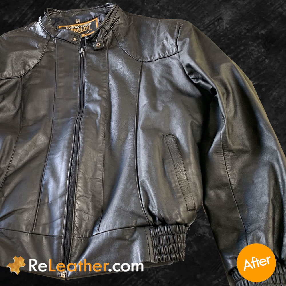 Refurbish Black Leather Coat - Fix Discoloration, Scratches, and Scuffs - After