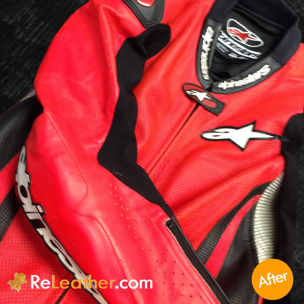 Leather Recoloring Leather Motorcycle Red Suit - After