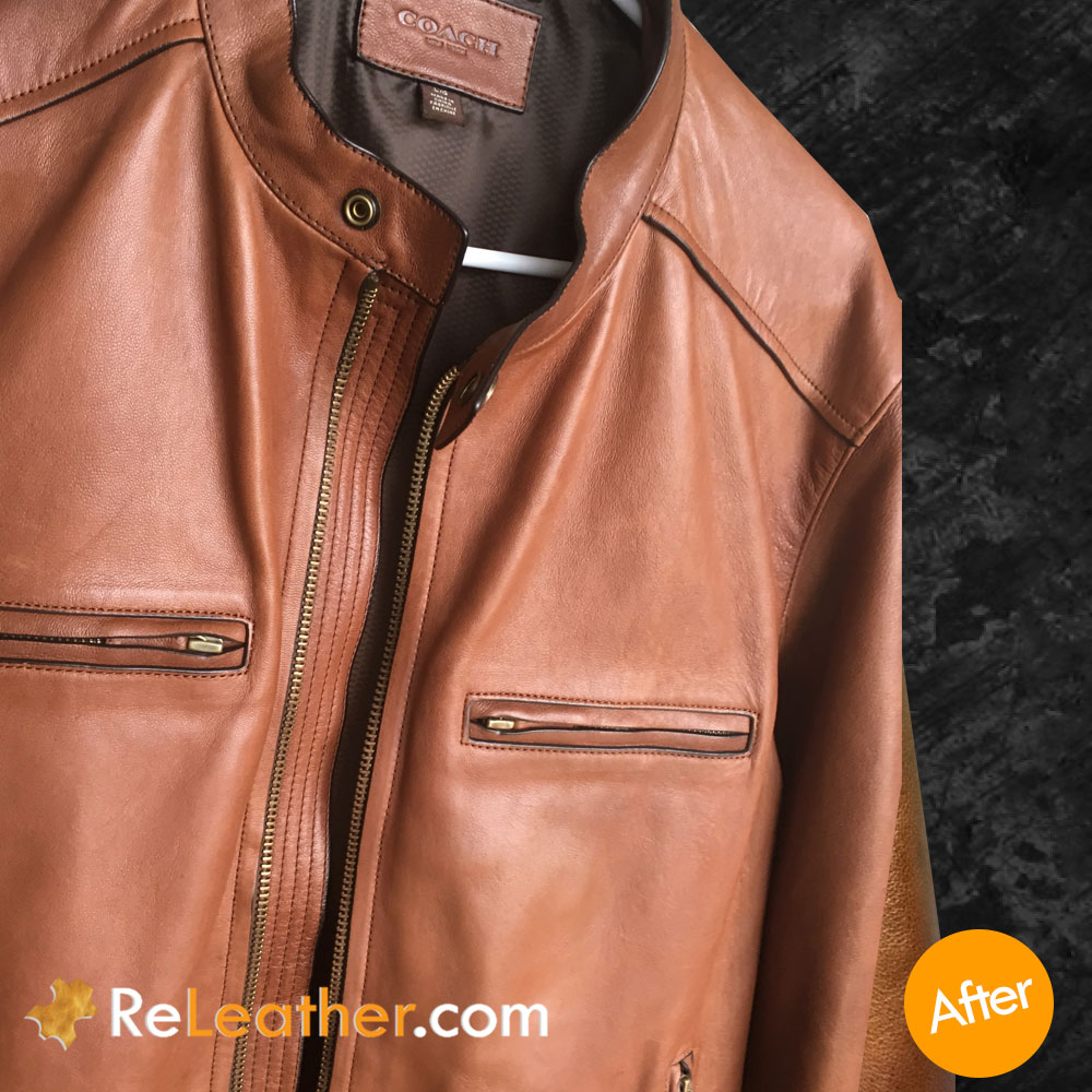 Leather Cleaning and Spot Removal Treatment for Coach Jacket - After