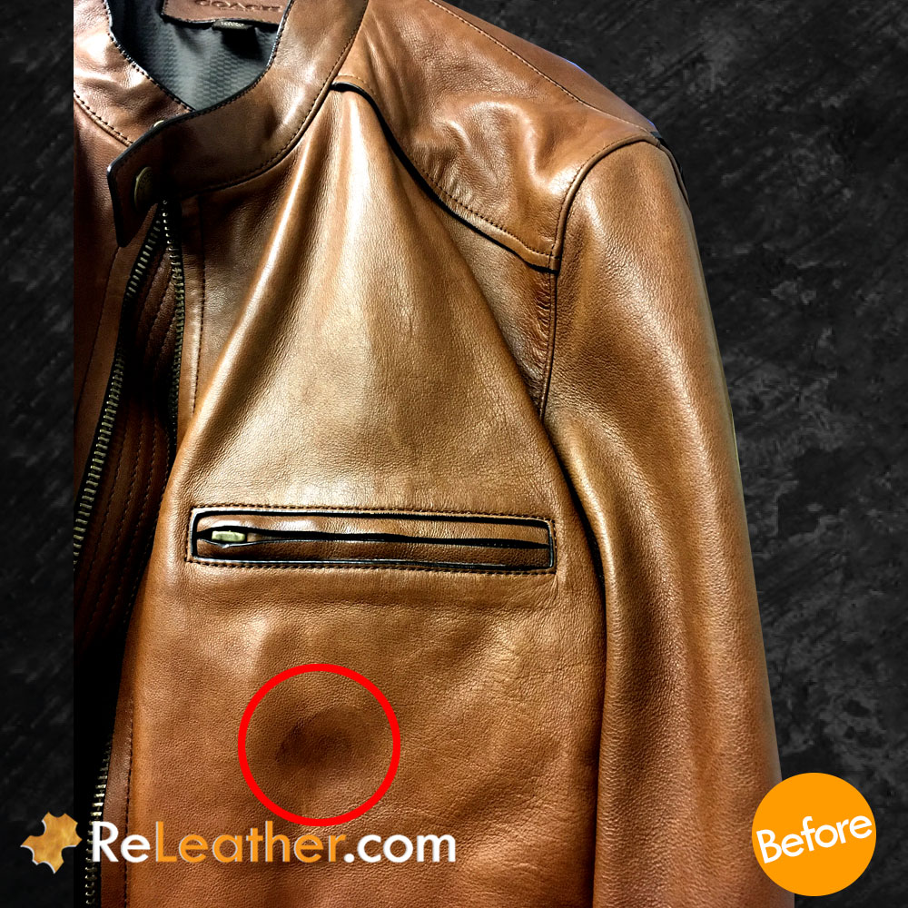 Leather Cleaning and Spot Removal Treatment for Coach Jacket - Before