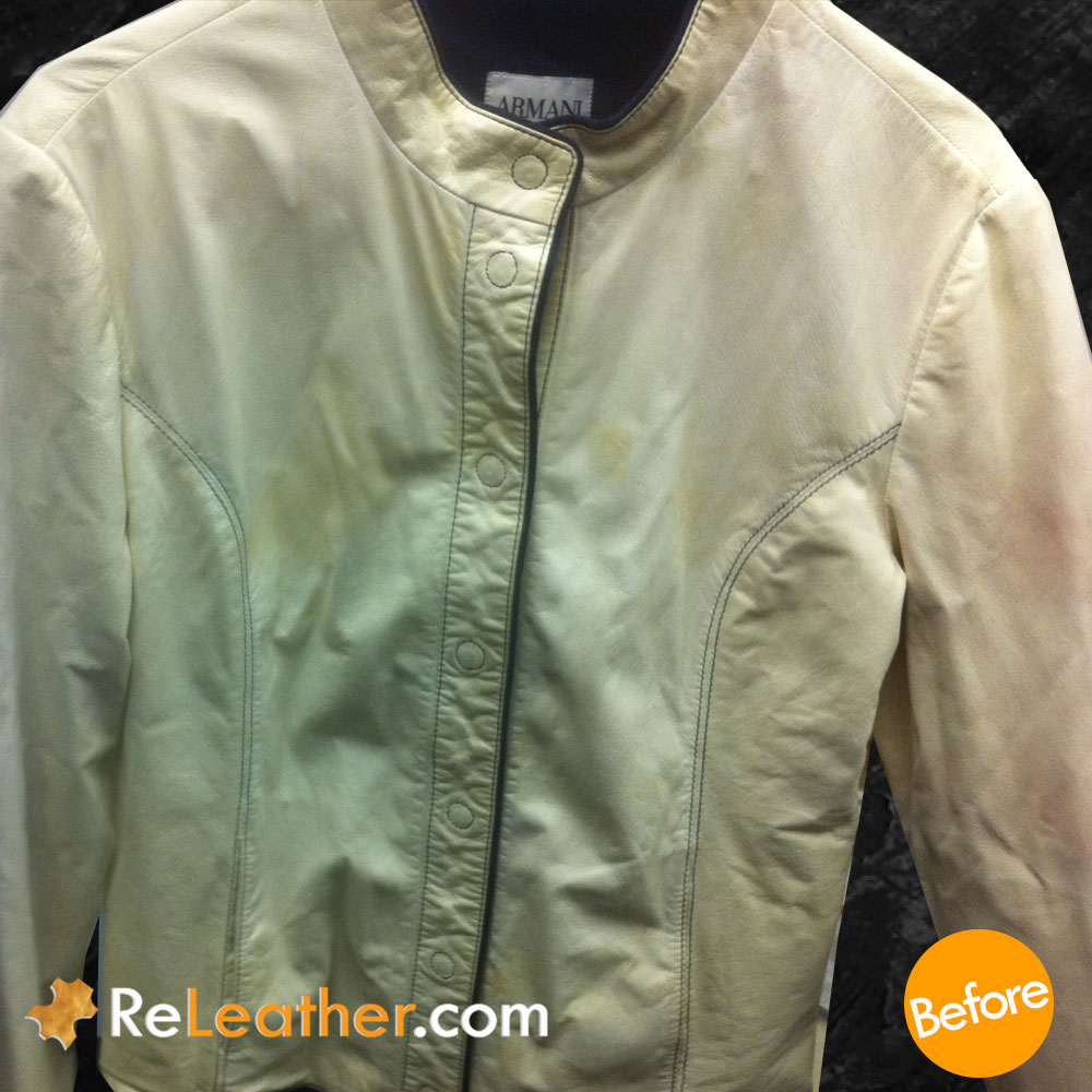 Leather Color Restoration and Spot Removal for Designer Women's Jacket - Before