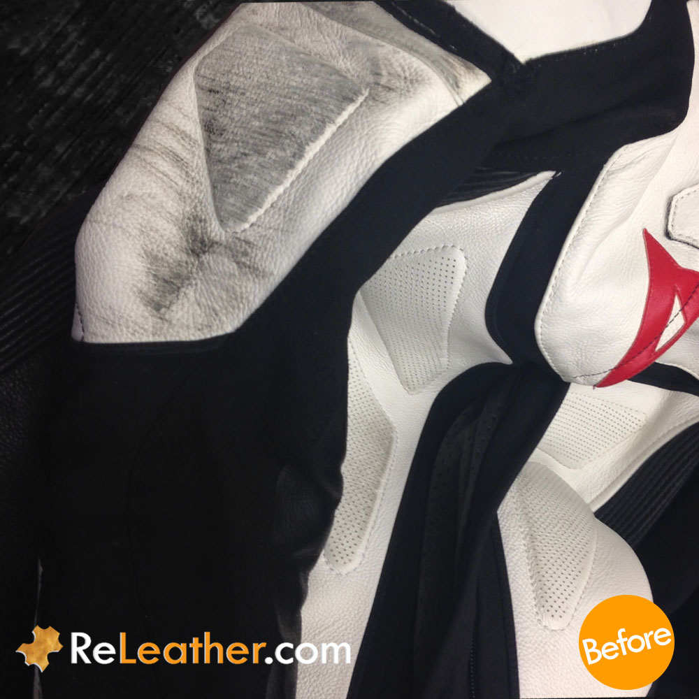 Leather Recoloring Leather Motorcycle Suit - Before