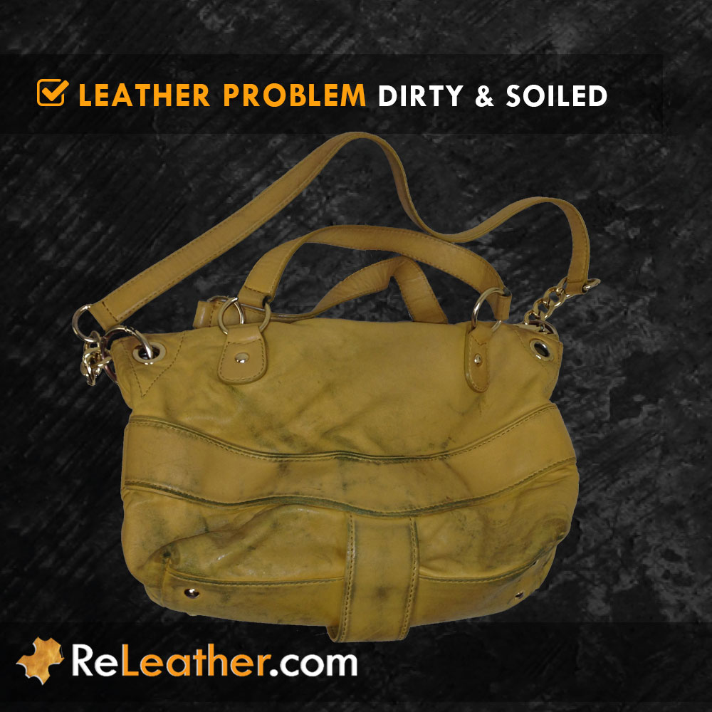 Dirty Soiled Leather Handbag Purse