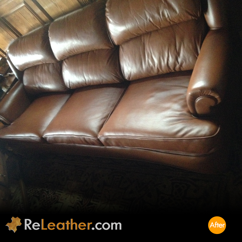 Leather Recover Brown Leather Couch - After