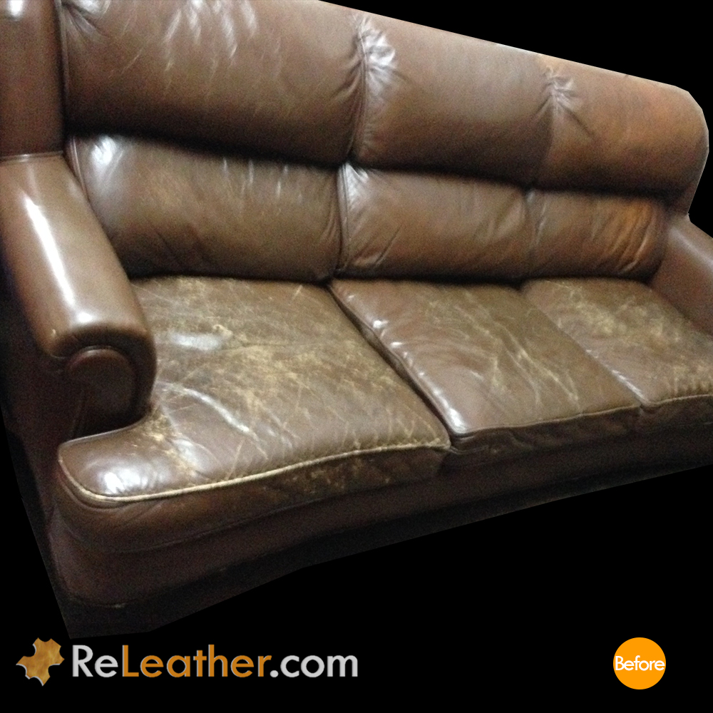 Leather Recover Brown Leather Couch - Before
