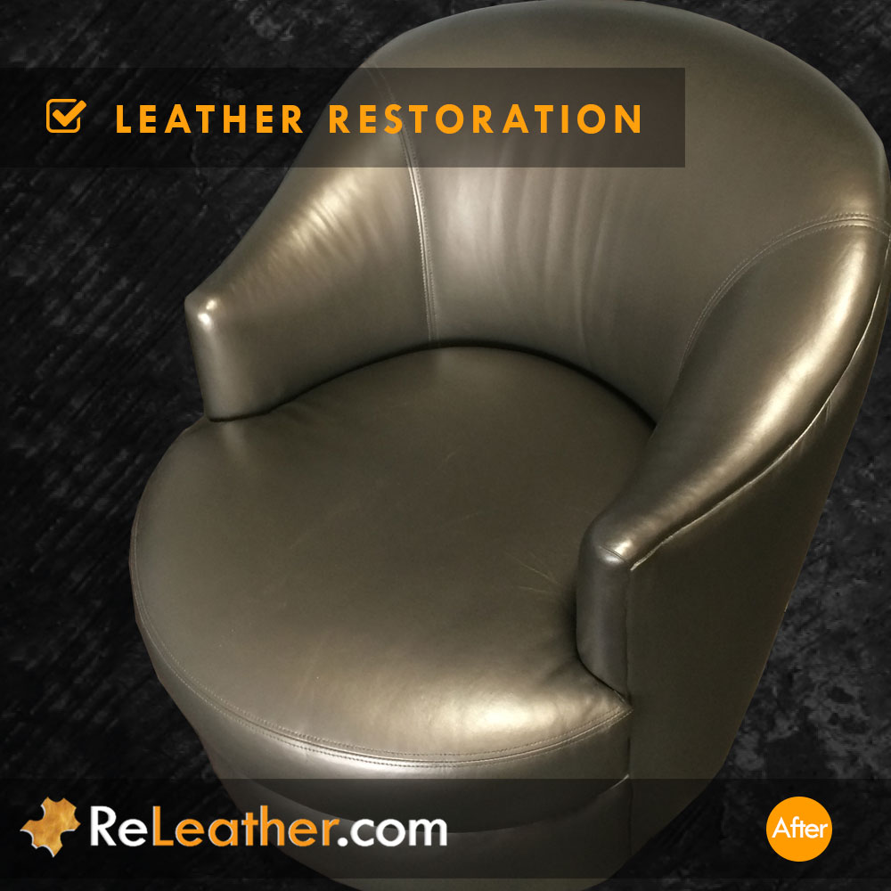 Metallic Gold Leather Swivel Armchair Cleaned and Restored in Indian Wells / Palm Desert, CA After