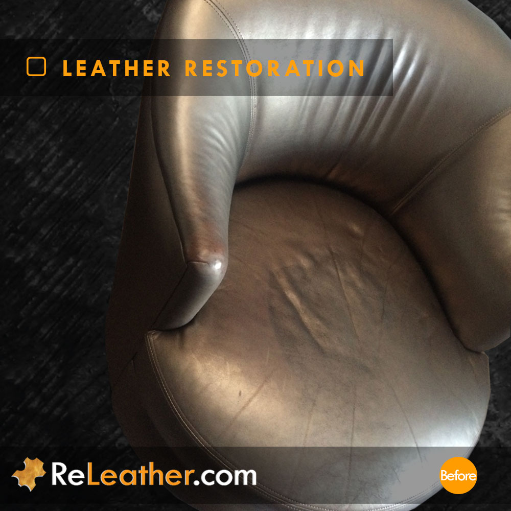 Metallic Gold Leather Swivel Armchair Cleaned and Restored in Indian Wells / Palm Desert, CA Before