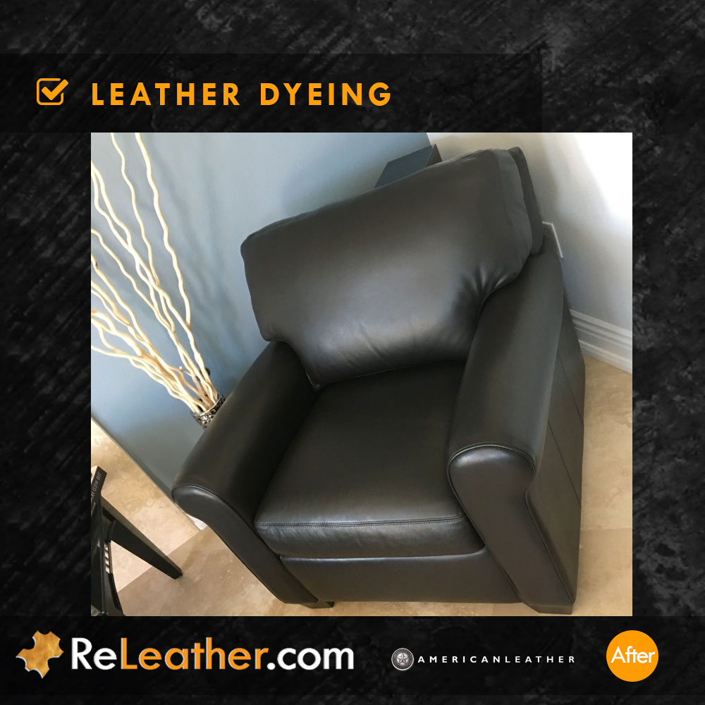 Leather Restoration Brown Leather Chair - After