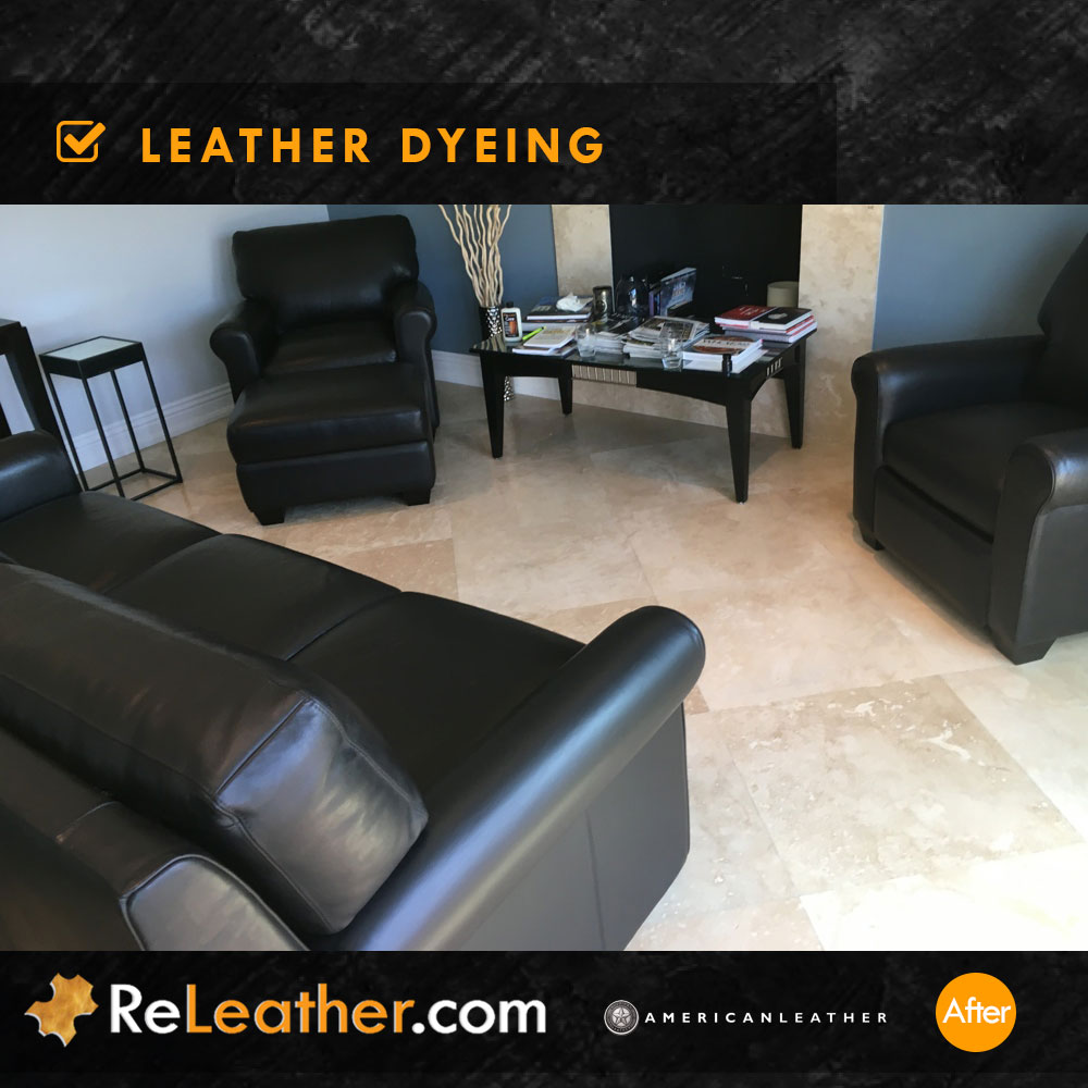 Leather Dyeing and Custom Recoloring for American Leather Sofa - After