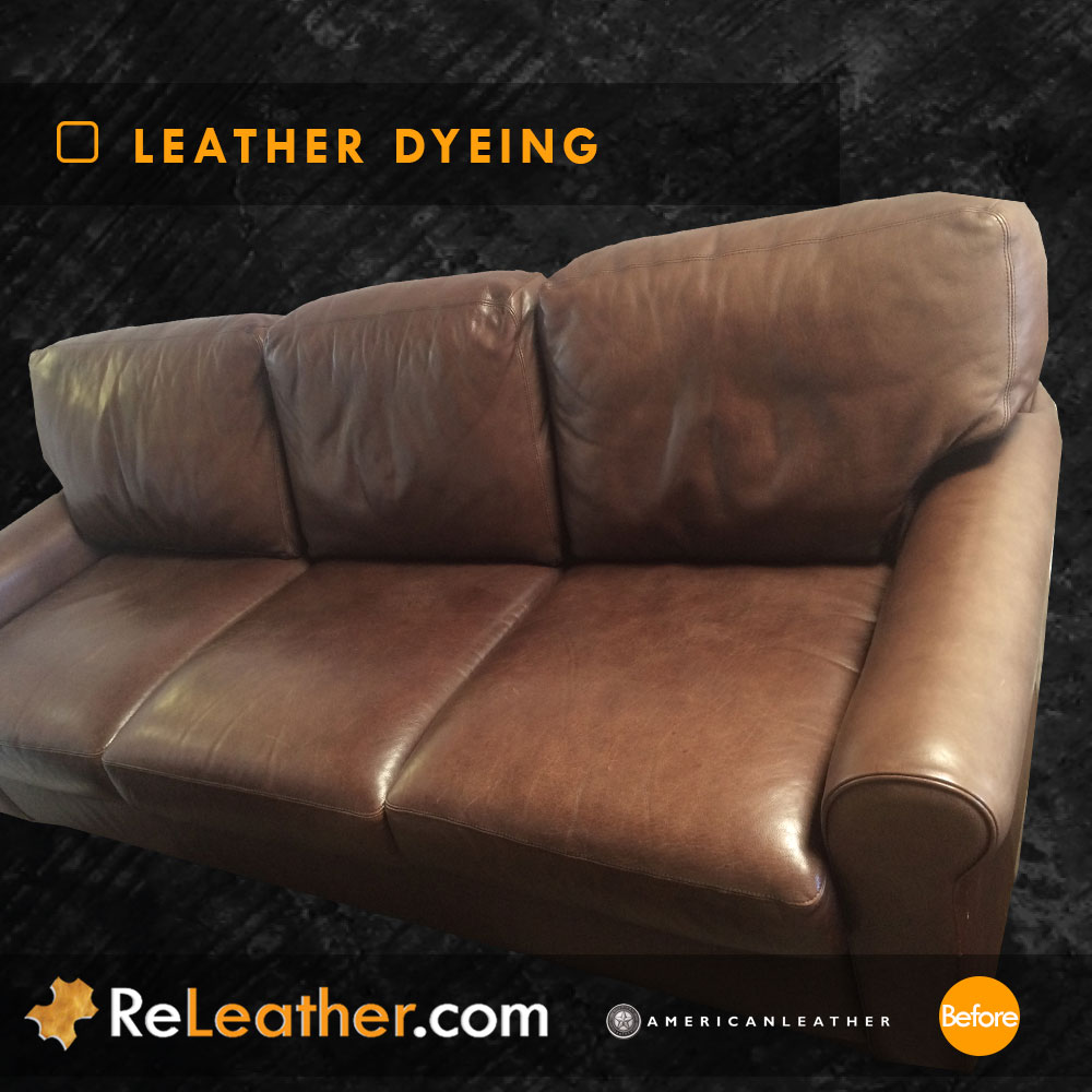 Leather Restoration Brown Leather Sofa Set -  Before