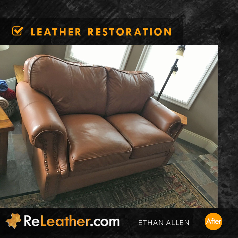 Recolor Tan Leather Sofa - After