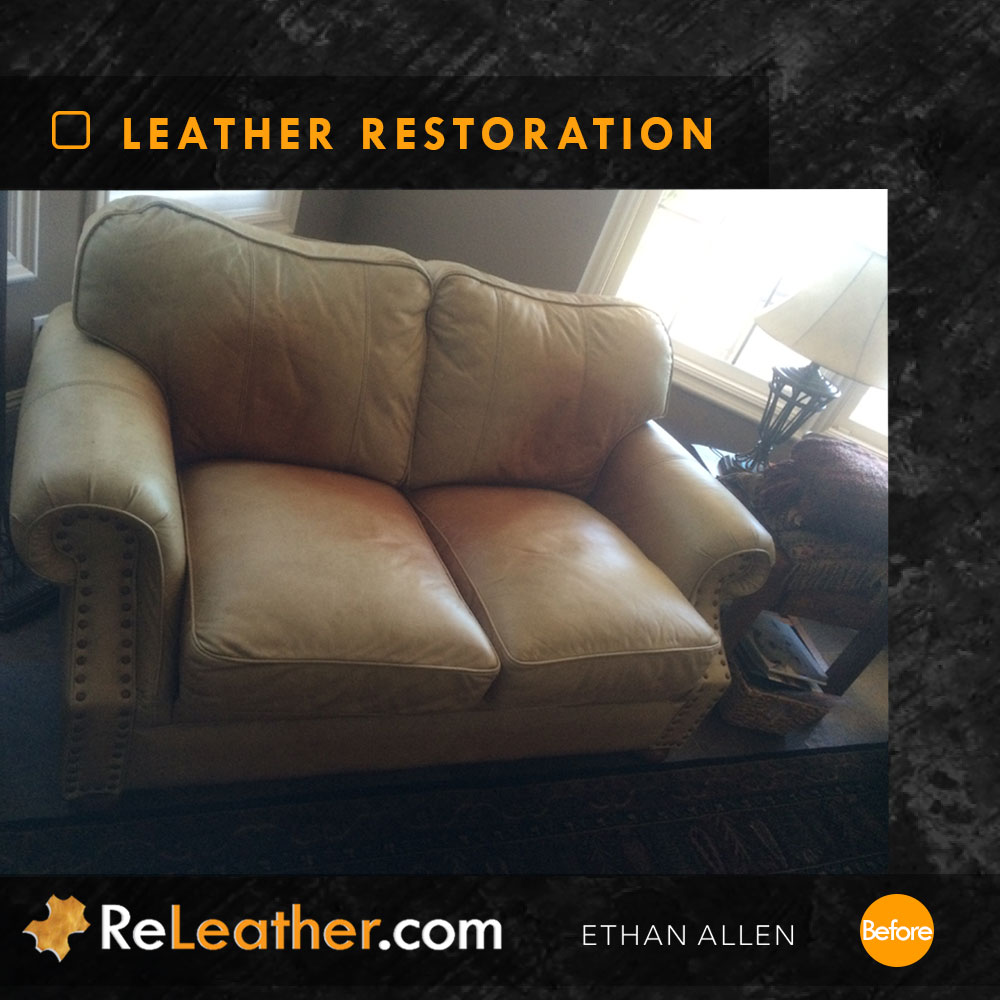 Recolor Tan Leather Sofa - Before