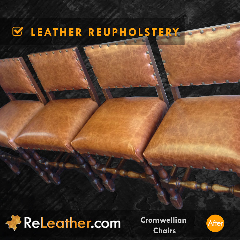 Leather Dining Chair Set Recovering Antique Aged Vintage Distressed Leather After