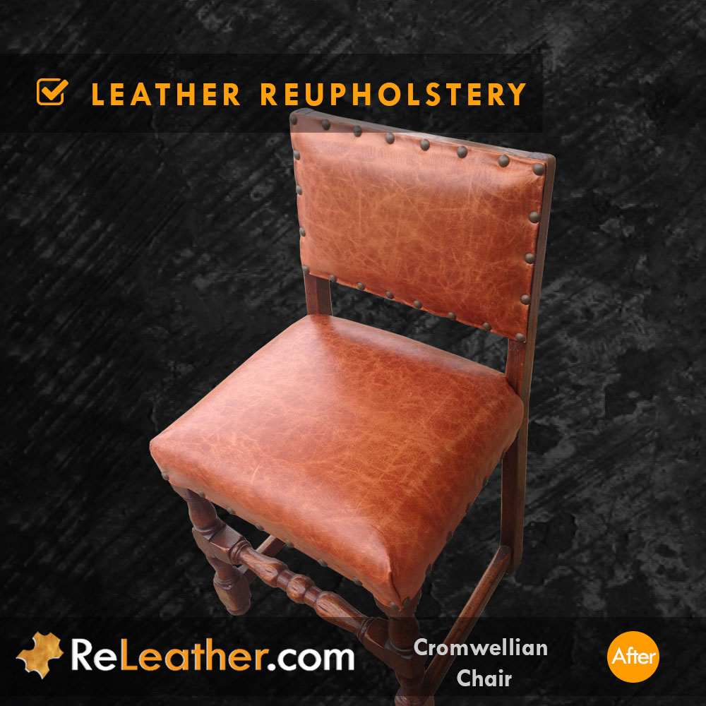 Leather Recovering Antique Aged Vintage Distressed Leather After