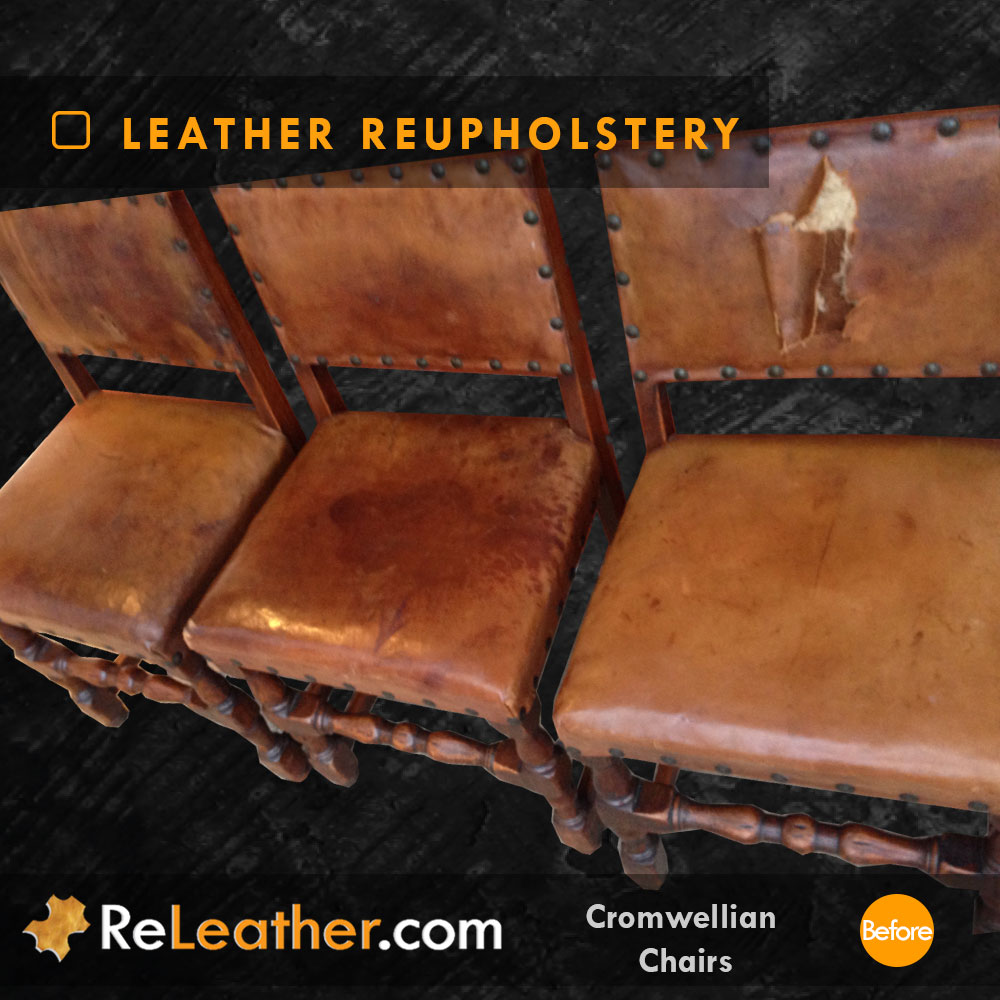 Leather Dining Chair Set Recovering Antique Aged Vintage Distressed Leather Before