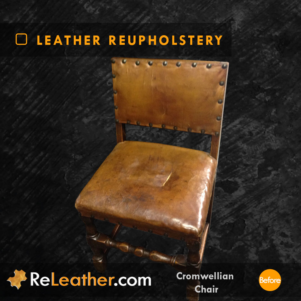 Leather Recovering Antique Aged Vintage Distressed Leather Before