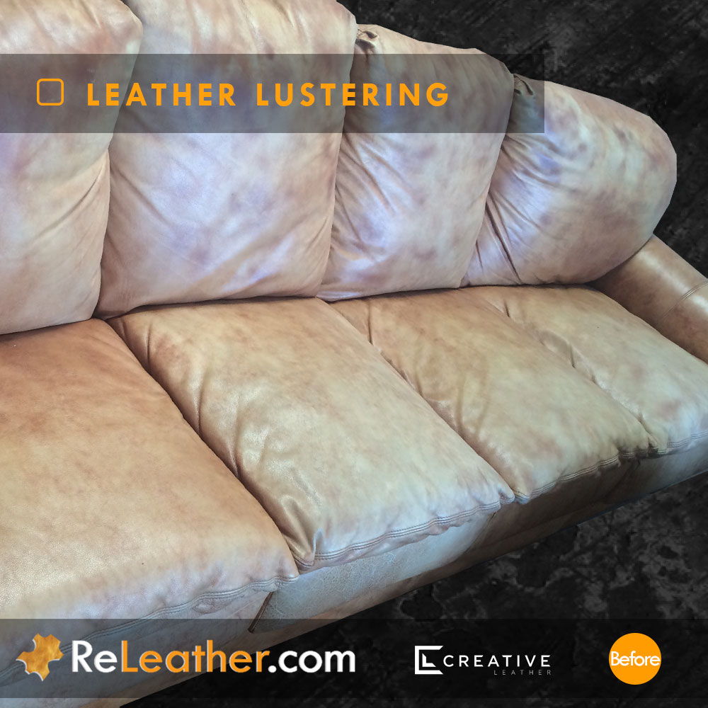 Color Restoration Tan Leather Sofa  - Before