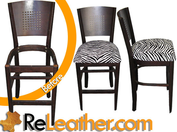 Recover Bar Stool Hair on Hide Stenciled Zebra Print