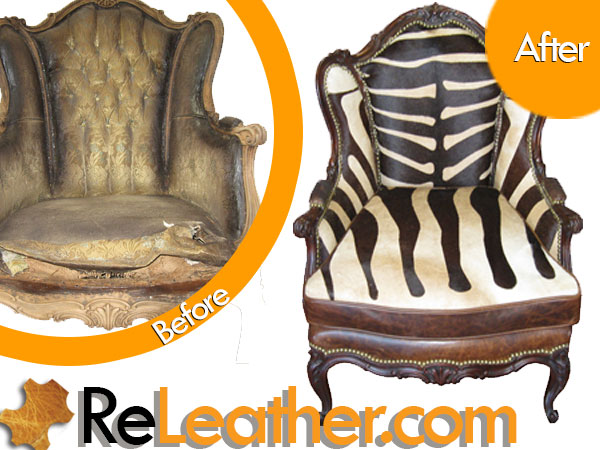 Reupholstery Vintage Wingback Chair - African Zebra Print Hair-on-Hide and Distressed Leather 1