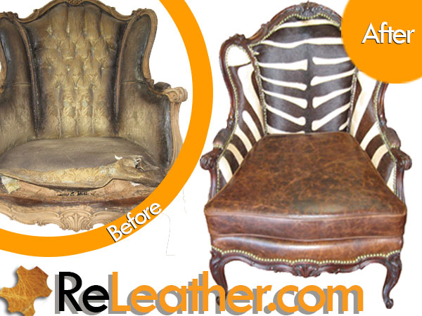 Reupholstery Vintage Wingback Chair - African Zebra Print Hair-on-Hide and Distressed Leather 2