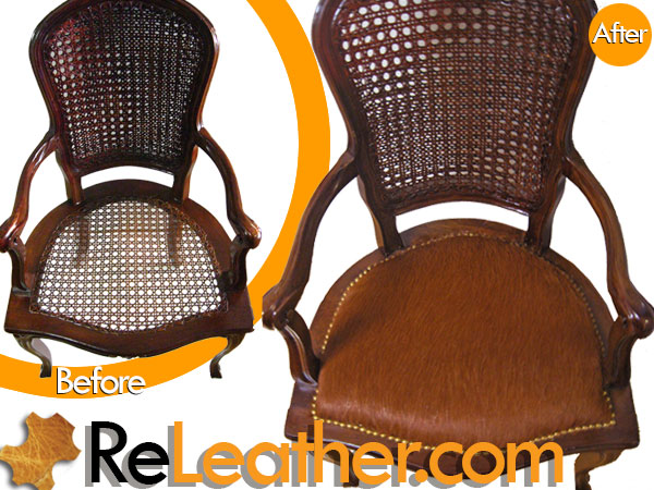 Recover Wood  Dining Chair  & Side Chair Set to Brown Hide Hair 1