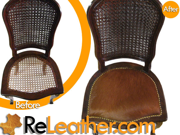 Recover Wood  Dining Chair  & Side Chair Set to Brown Hide Hair 2
