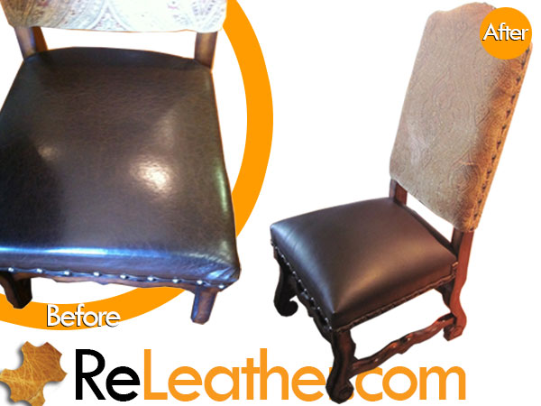 Cracking Faux Leather Accented High Back Dining Room Chairs