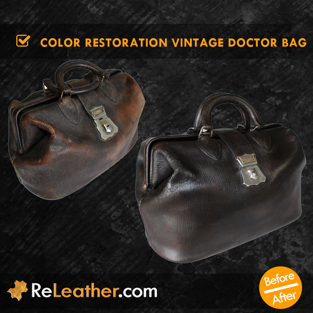 Leather Color Restoring Vintage Antique Doctor's Bag - Before and After