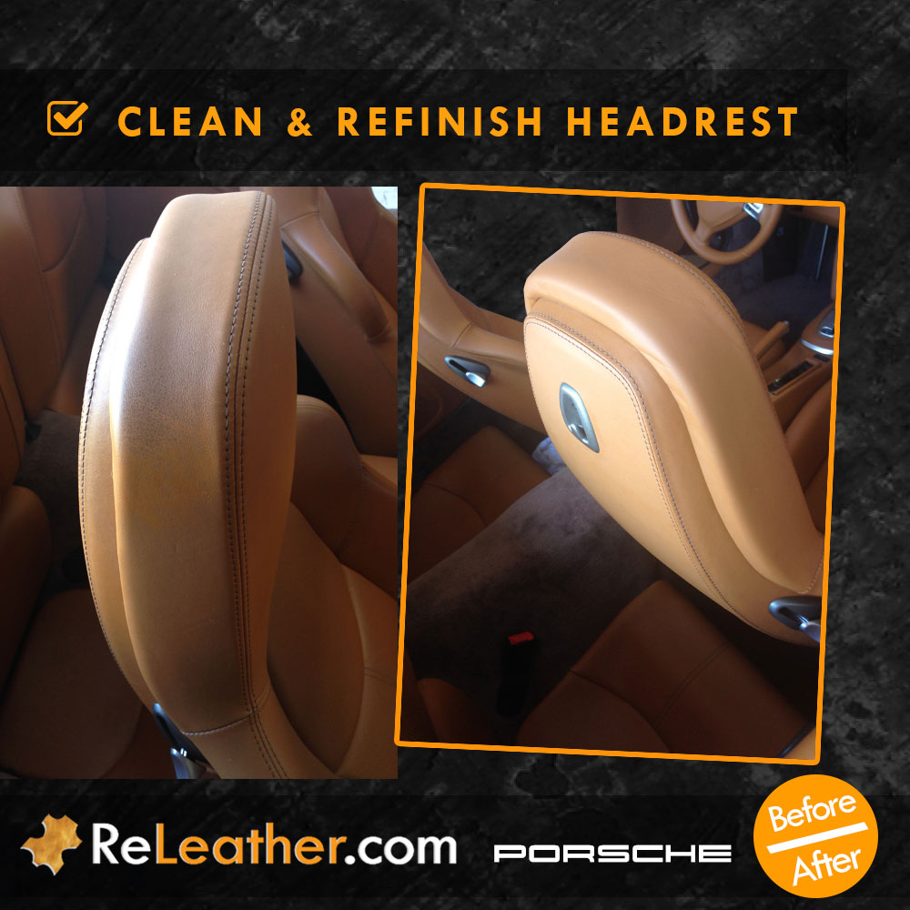 Leather Refinishing Tan Leather Headrest Porsche Turbo