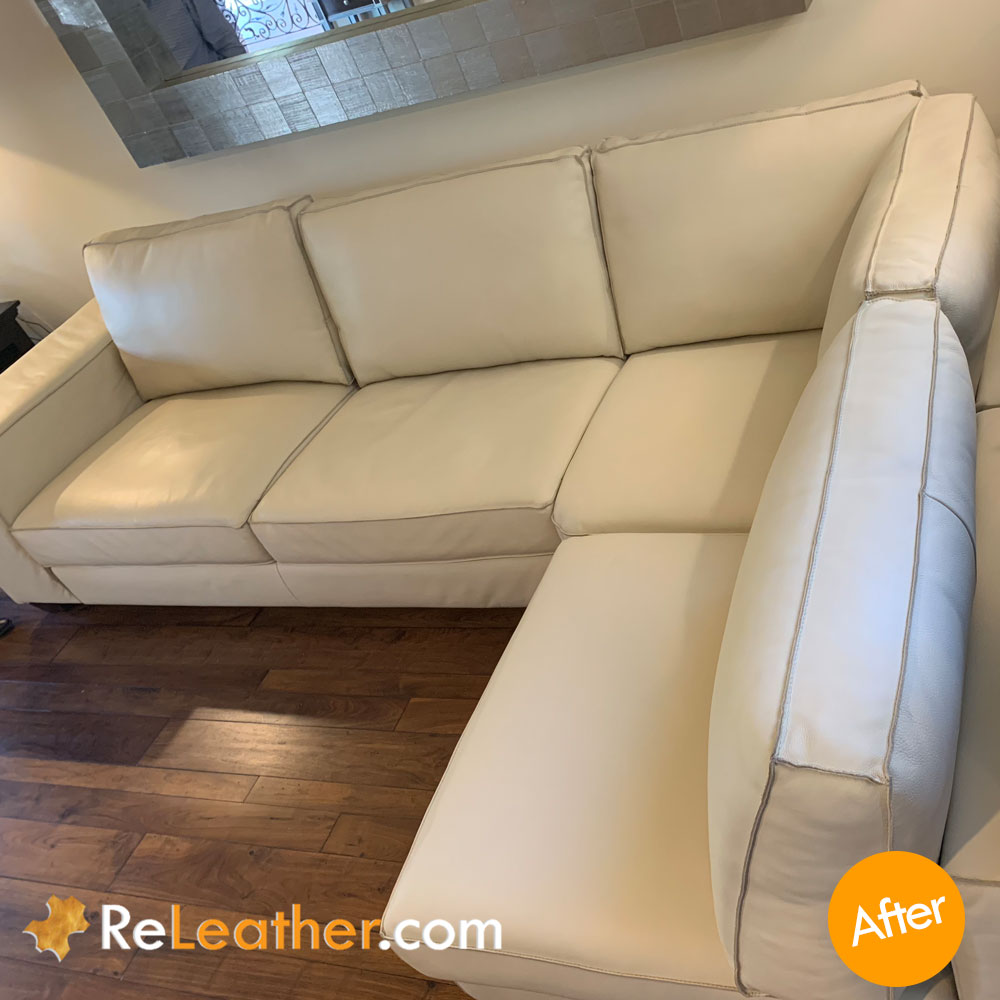 Leather Restoration Designer Couch from Cantoni - After