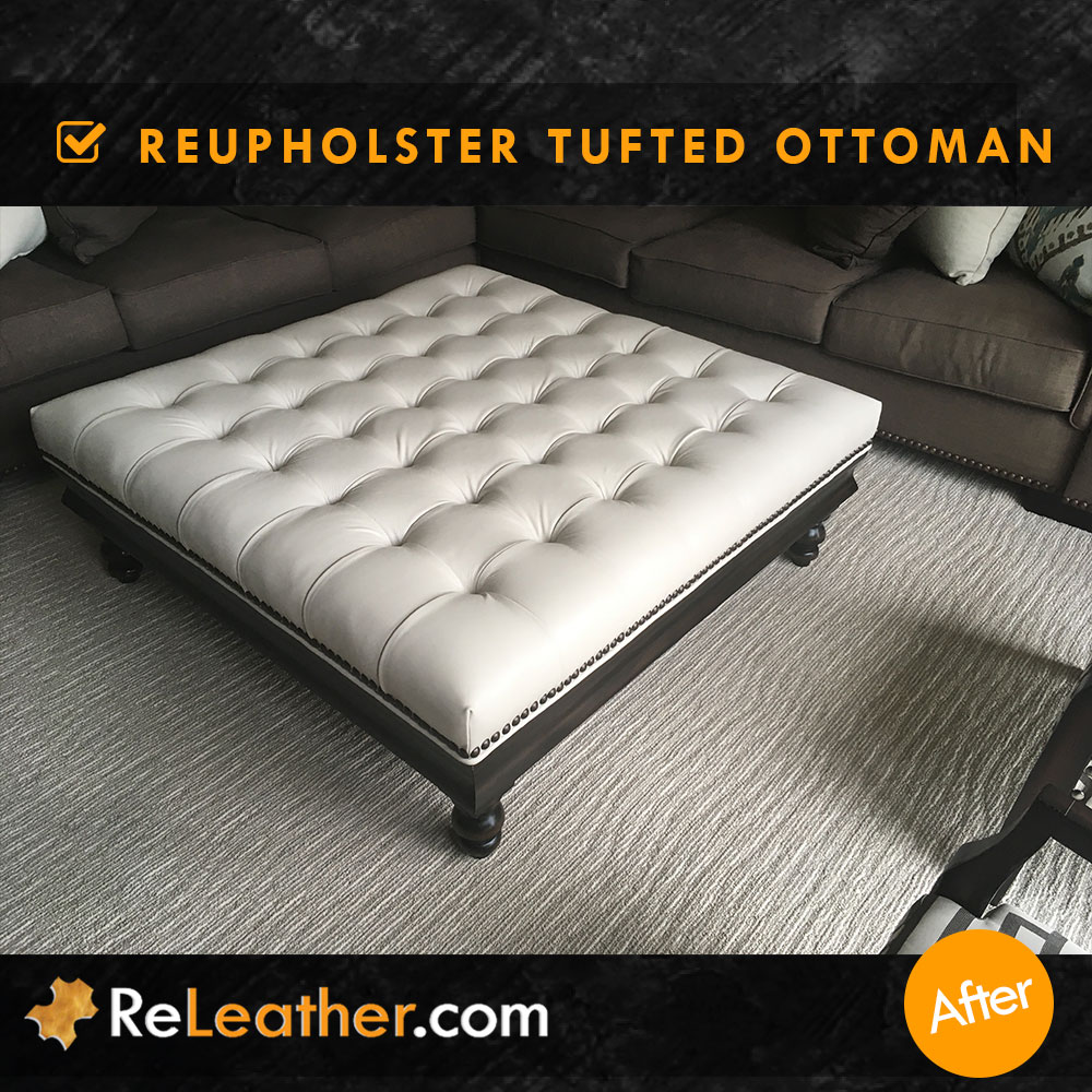 Leather Upholstery Tufted Leather Ottoman After