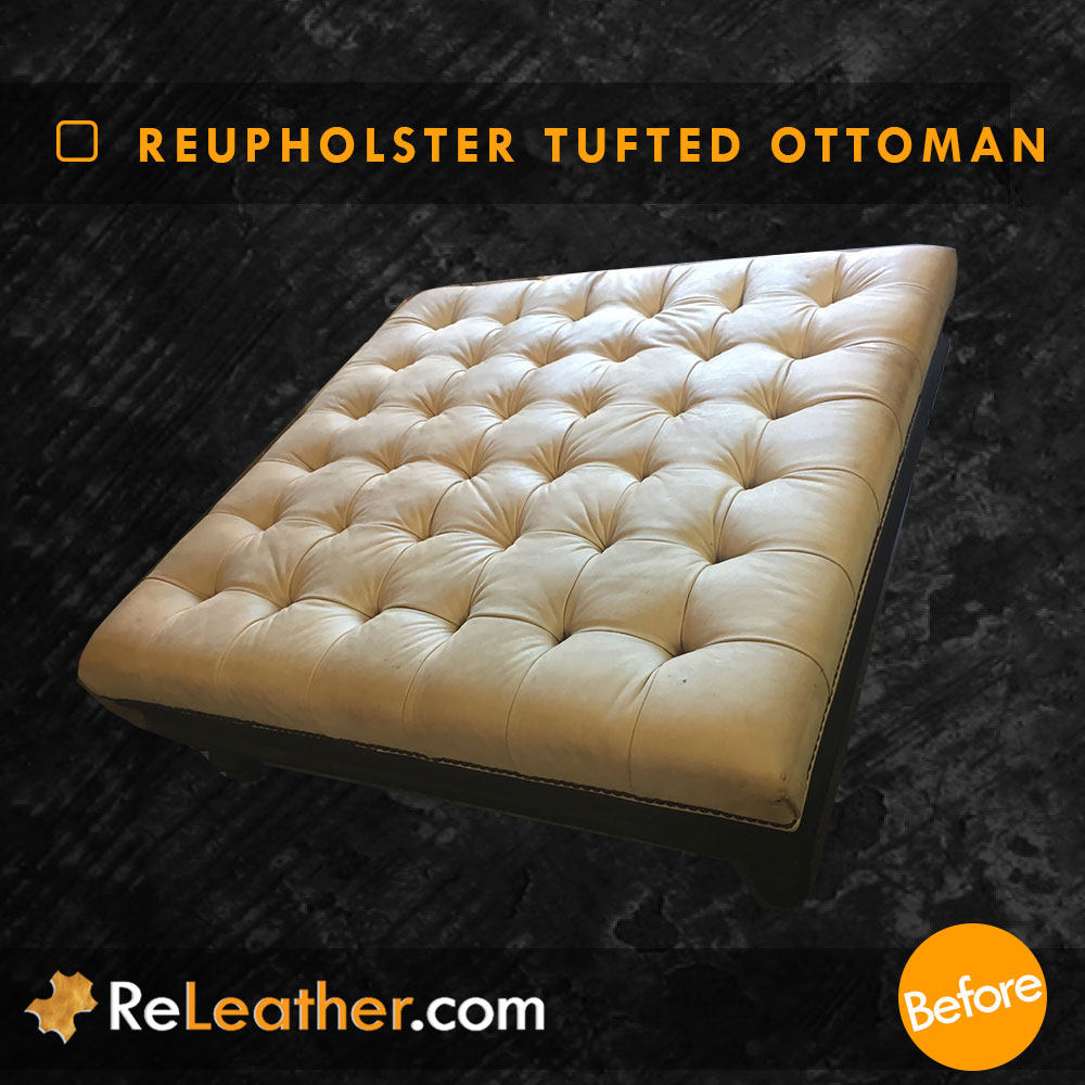 Leather Upholstery Tufted Leather Ottoman