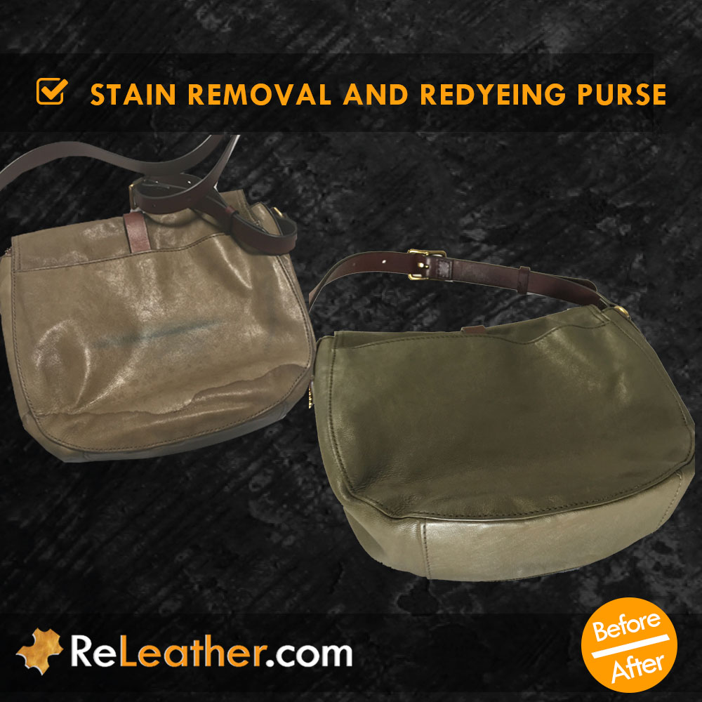 Leather Redye Purse Spot Removal Back View