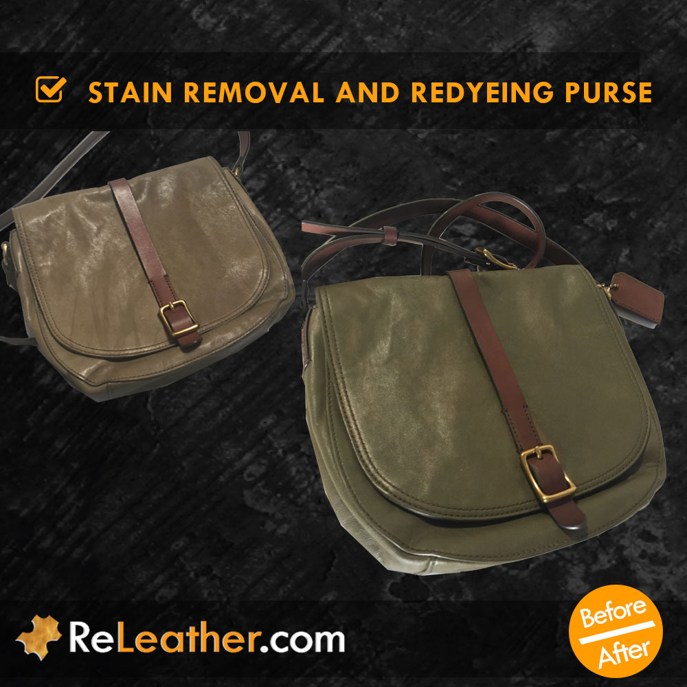 Leather Redye Purse Spot Removal Front View
