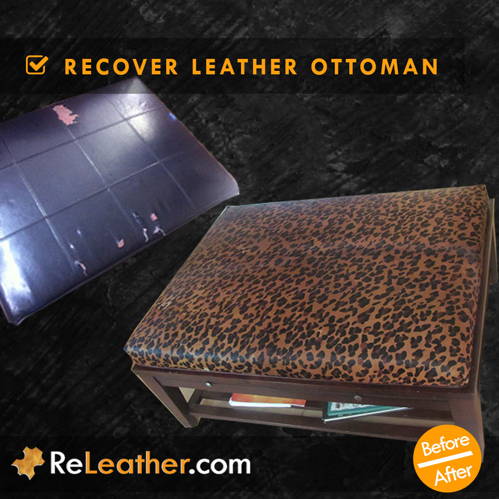 Bonded Leather Ottoman/Hassock reupholstered Hair on Hide Cheetah Stenciled Leather