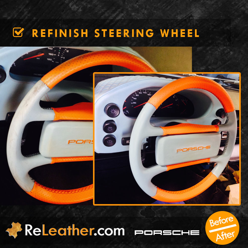 Leather Redyeing Steering Wheel Custom Color Porsche