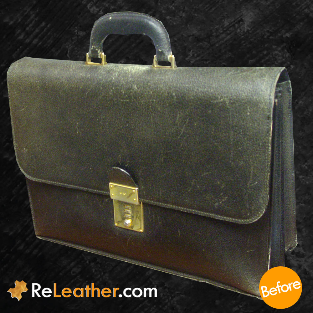 Leather Restoration Classic Briefcase - Before