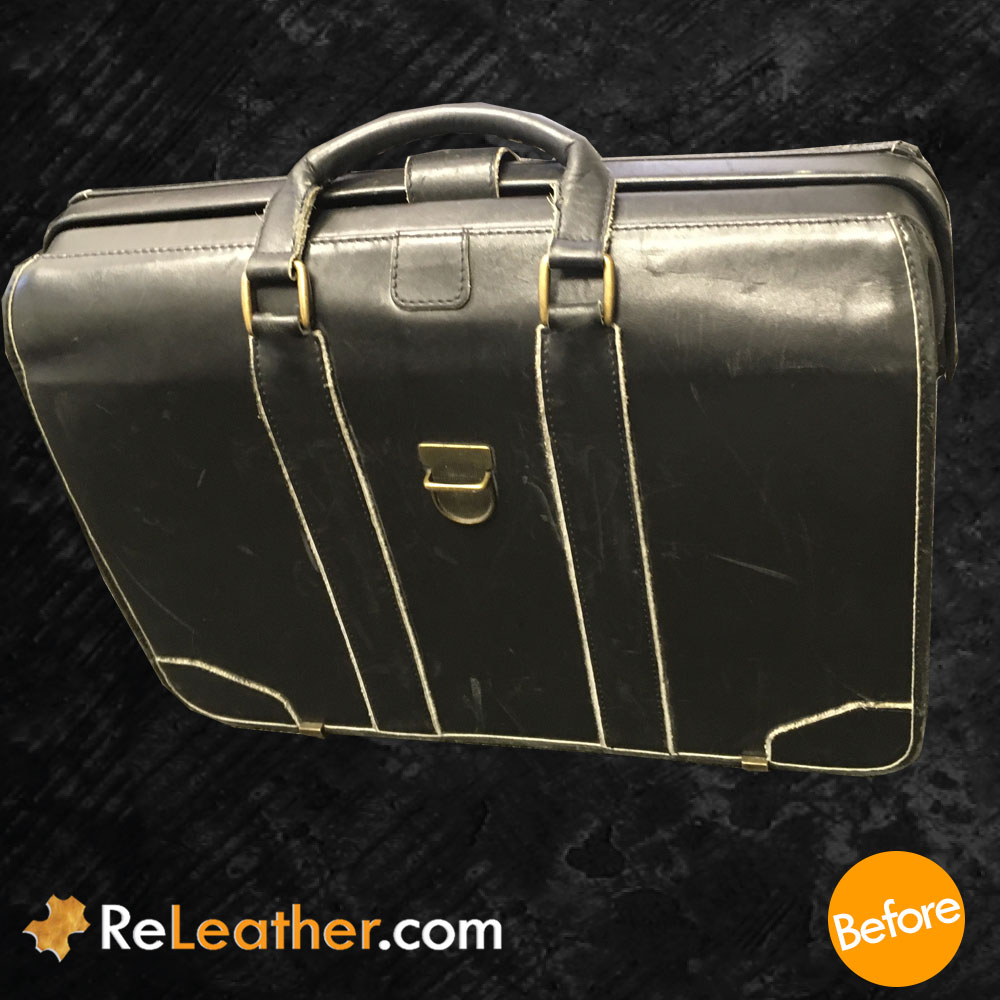 Leather Recoloring Lawyer's Briefcase - Before