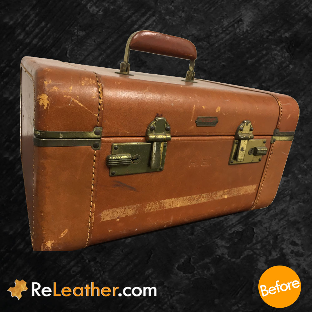 Refurbishing Tan Leather Case - Before