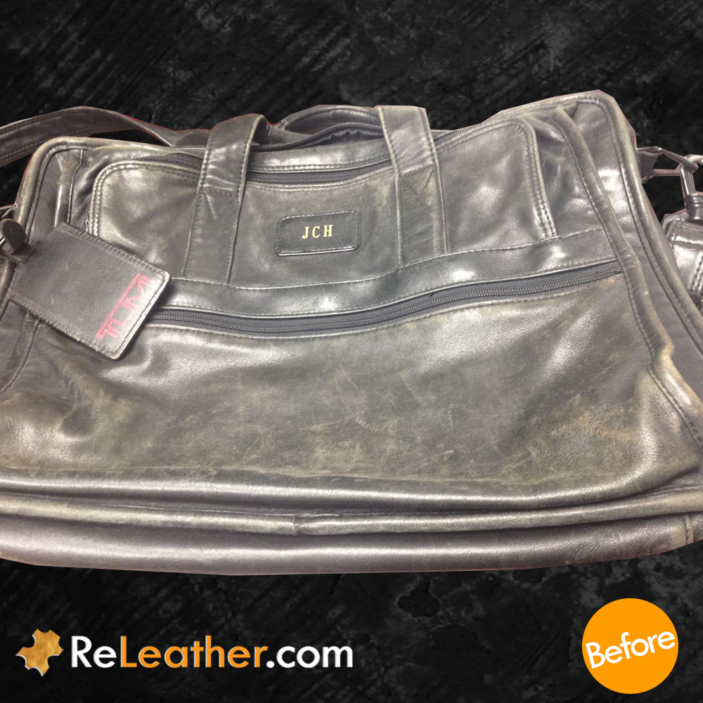 Refurbish Tumi Leather Messenger Bag - Before