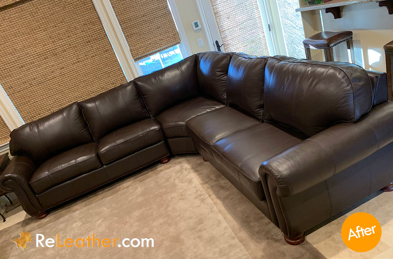 Leather Custom Recoloring Dyeing for Thomasville Sofa - After