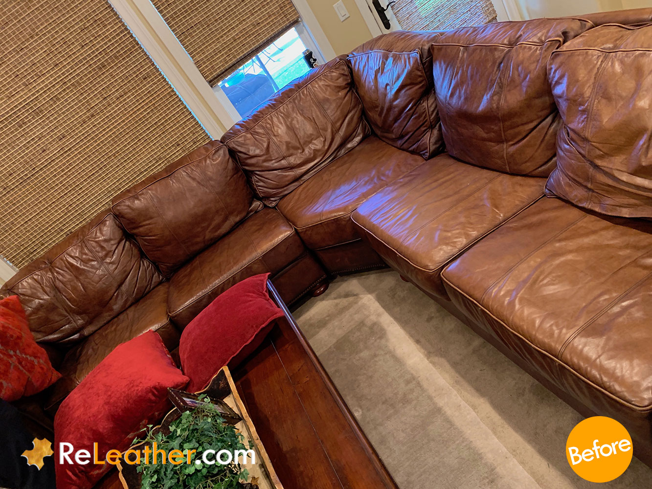 Leather Custom Recoloring Dyeing for Thomasville Sofa - Before