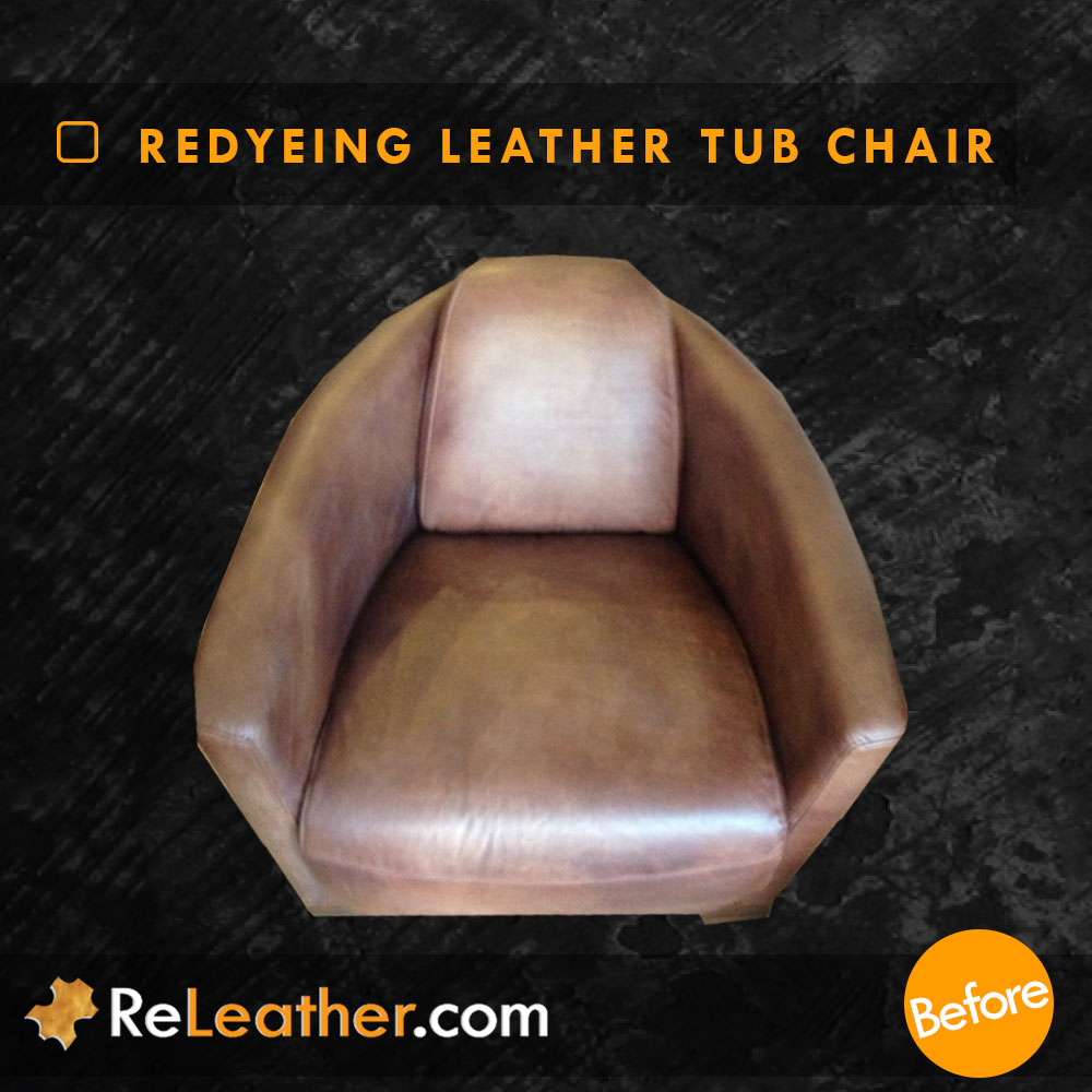 Leather Tub Chair Armchair Cleaned and Redyed in Los Angeles, CA Before
