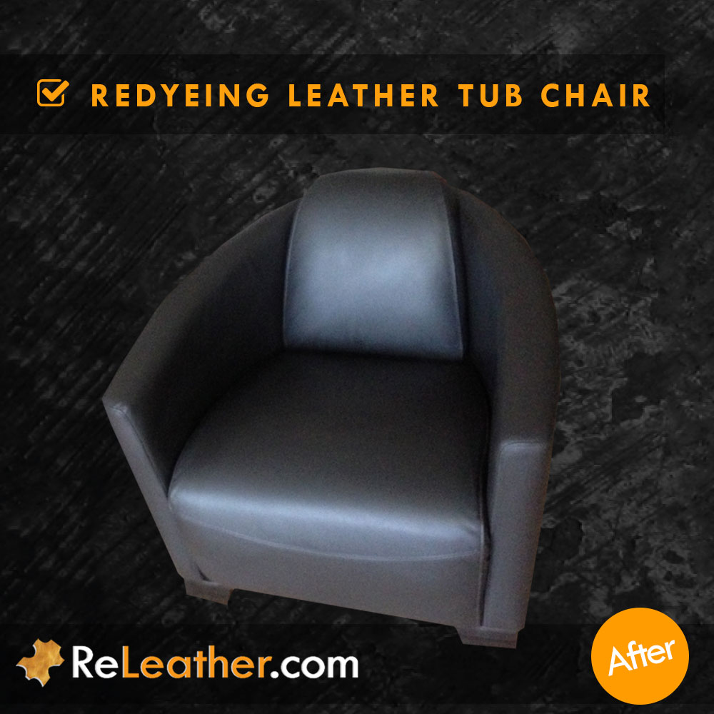Leather Tub Chair Armchair Cleaned and Redyed in Los Angeles, CA After