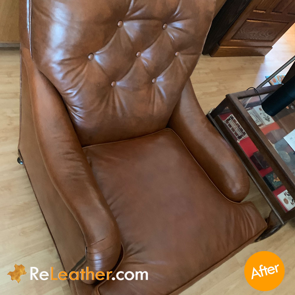 Recover Ripped Seamed Leather Seat Cushion - After