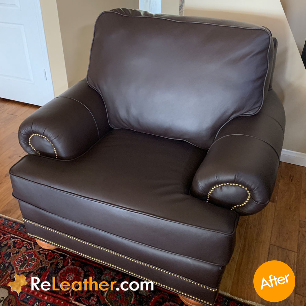 Leather Sofa and Chair Recovered in Italian Leather - After