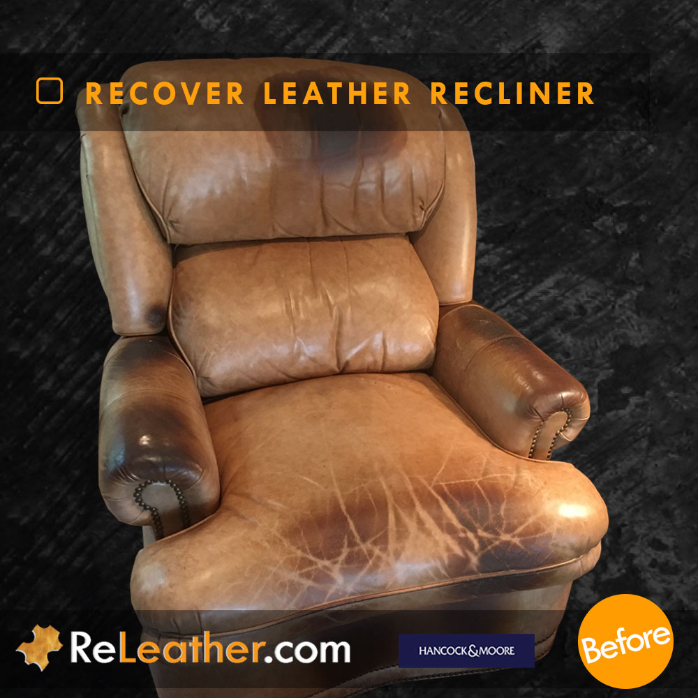 Leather Reupholstery for Leather Wingback Chair - Before