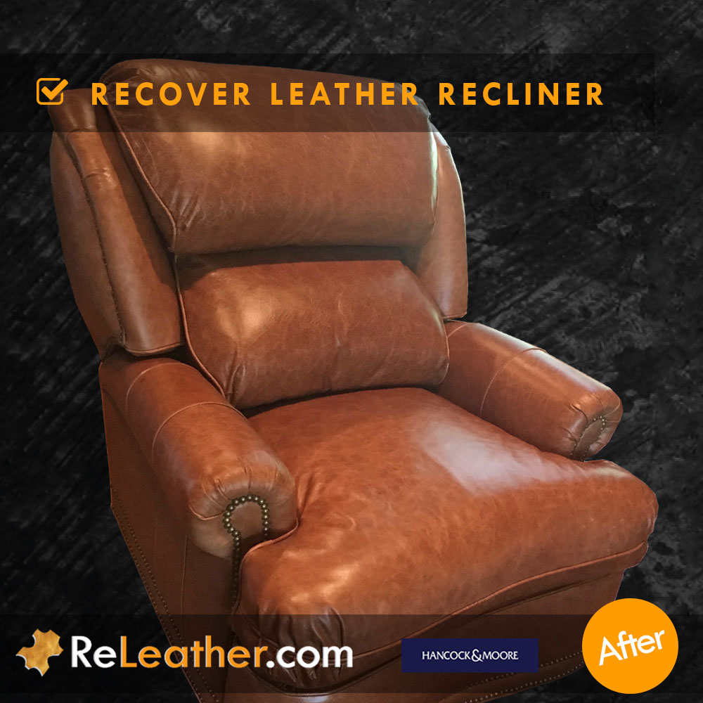 Leather Reupholstery for Leather Wingback Chair - After