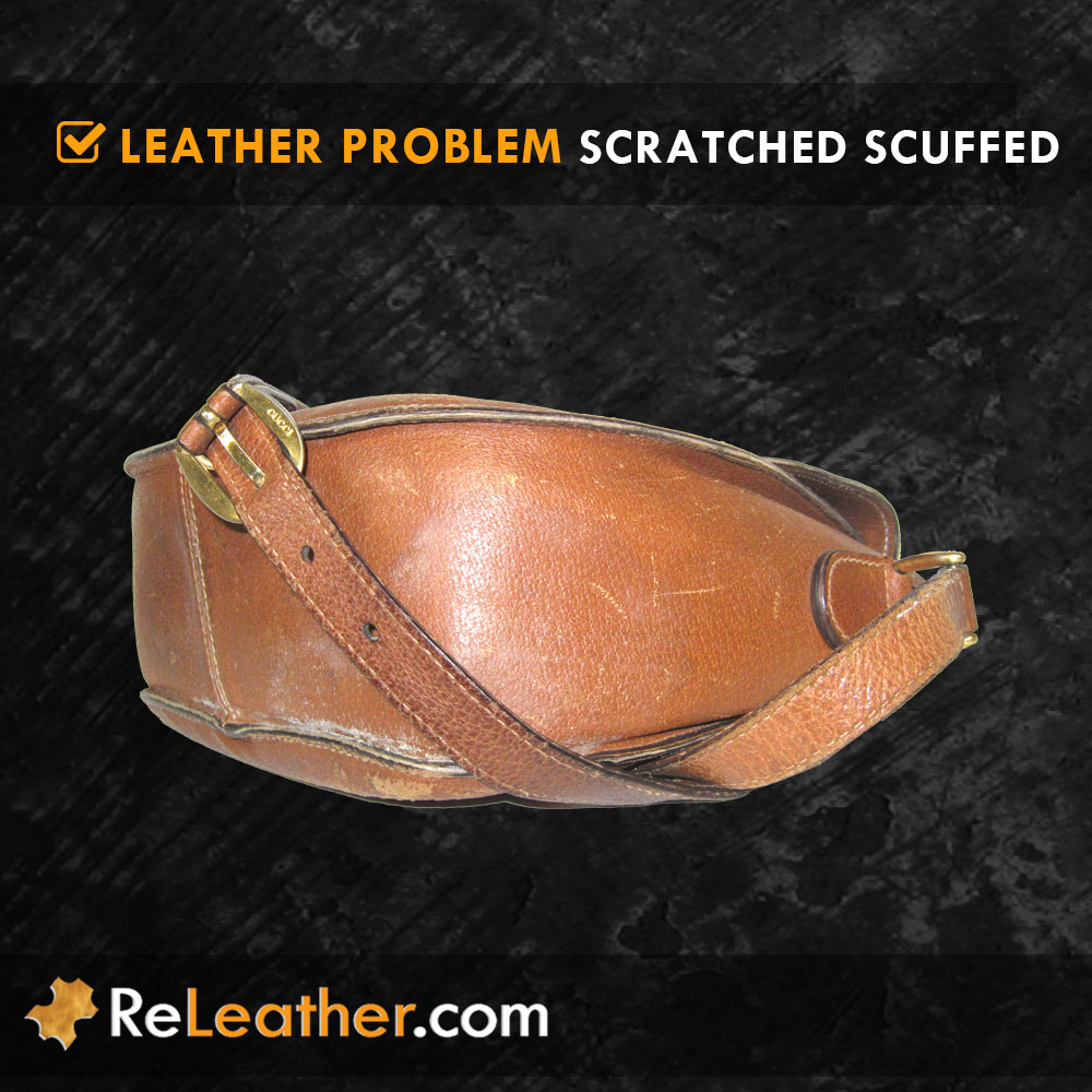 Scratched Scuffed Leather Handbag Purse