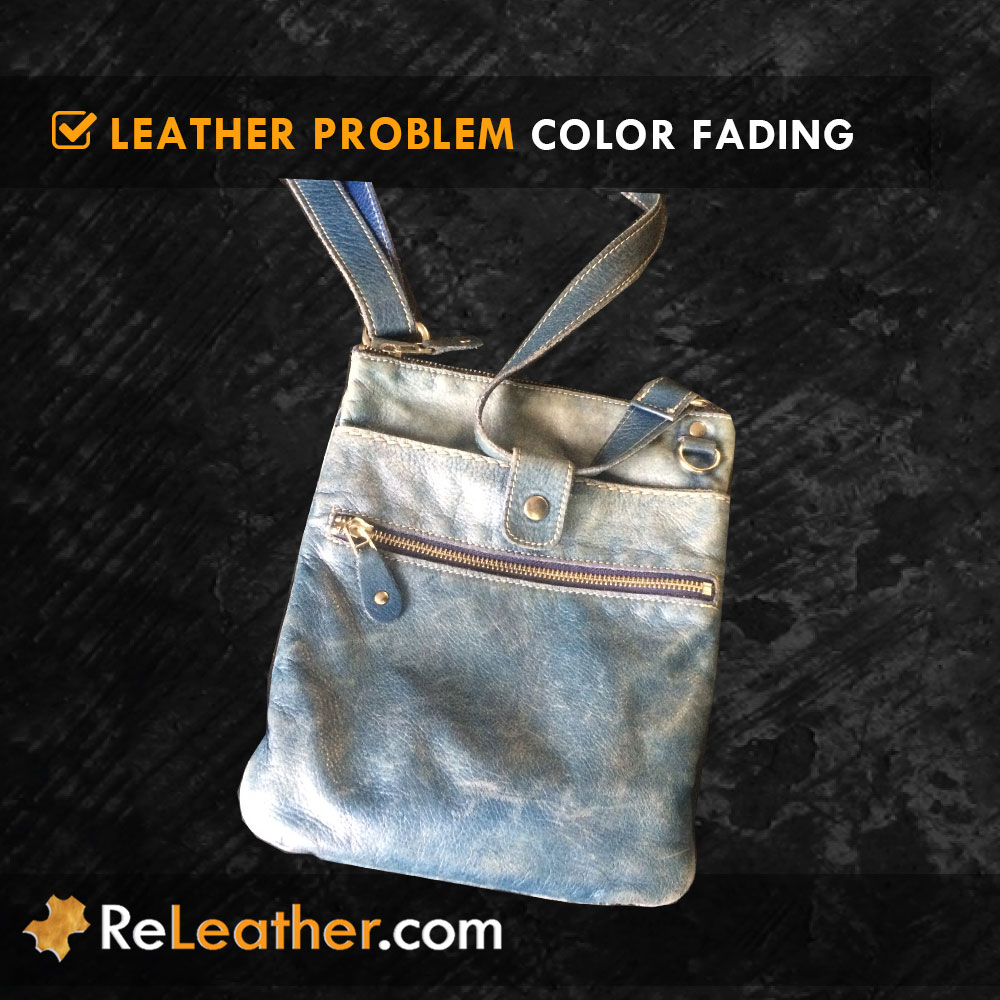 Sun Color Faded Leather Handbag Purse